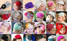 JPHAIR150401 2015 hot sale fashion latest 51kinds of color exquisite feather with stone Baby Girl elastic Headbands