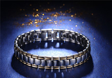 Titanium Magnetic Energy Germanium Armband Power Bracelet Health Bio 5in1 Anion ION Jade Stone Fir Far Magnet Power Men Bracelet