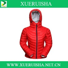 woman thin warm down jacket for winter in red
