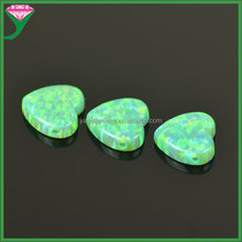 OP11 kiwi Green heart shape opal beads loose gems for necklace with a Drill