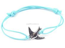 2PCs Silver Plated Birds Faux Suede Leather Cord Charm Bracelets