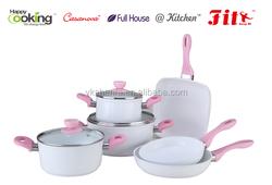 9pcs pink color aluminum non-stick cookware sets