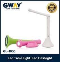 1W LED spotlight+10SMD LED table light Flashlight can work 19hours with color body
