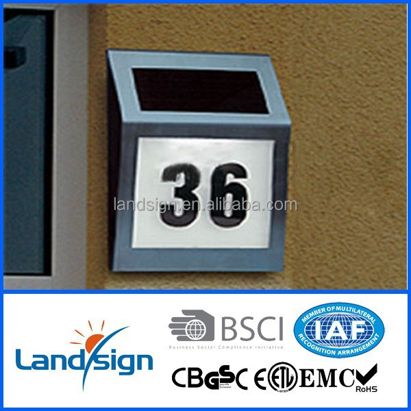 Energy Saving High Brightness 4*white Led Solar Powered House Number Address Numbers Lighted ...