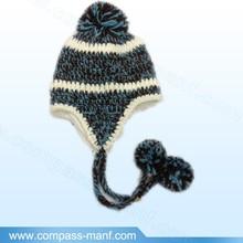 Winter Baby Ear Flap Knit Cap Fleece Lined Children Crochet BEANIE hats 5 colors