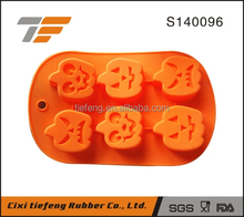 6 cavity halloween pumpkin shaped silicone cake molds bake pans soap molds pudding molds