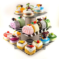Customized design 3 tier cartoon cardboard cupcake stand