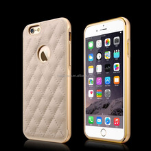 Fashion Design Metal Frame genuine Leather phone case for iphone 6