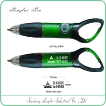 promotional logo imprint compass ball pen with carabiner