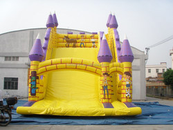 Cow boy inflatable purple and yellow water slide castle