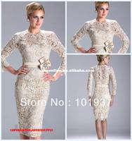 Wholesale Cheap TEm11481 Sexy New Ivory Long Sleeves Beading Custom Made Sash Knee Length Lace Evening Dresses Short