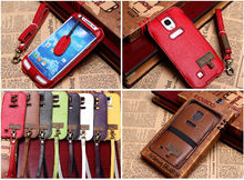 For iphone 5s 5c Handmade SHOWKOO leather universal mobile phone shoulder bag pouch case with neck for iPhone 5 with Neck Strap