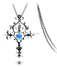 Long chain Cross style with heart crystal necklace in Dubai