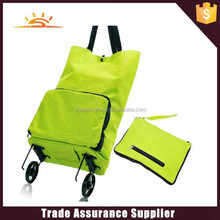 factory sale promotional folding shopping bag with wheels