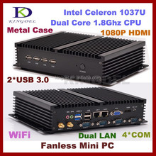 Best selling Intel Celeron 1037u mini Fanless Industrial PC With 6*USB 4*C0M,dual lan pc China