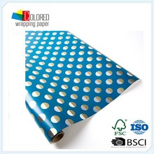 Custom Printed Gold Silver Dots on Blue Roll Wrap /Gift wrapping Paper