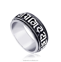 Male Stainless Steel six words scripture reliefs Ring