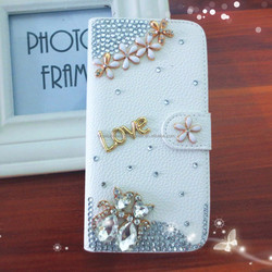 White Wallet Rhinstone Diamond PU Leather Cover For Samsung Galaxy S6 G9200