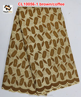 New design african lace in korea voile lace fabric of CL10056-1 brown