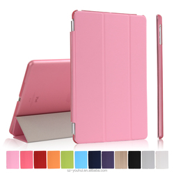 12 Colors Multicolor Soft PU Leather Tripled Folded Case Flip Cover for iPad Air with Auto Wake Up Function