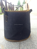 black round felt outdoor pots with handles for trees