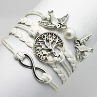 New Vintage Imitation Pearl Doves Birds Handmade Friendship Lucky Cute Round Tree Infinity PU Leather White Braid Bracelet