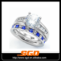 British new design stainless steel king and queen engagement and wedding finger ring set