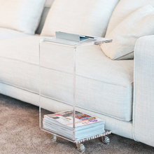 plain and elegant clear transparent acrylic lucite perspex C coffee table with casters 30x30 h:35