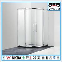 2015 new design floor 8mm Tempered Glass shower double doors sliding