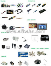 Cables, Speakers, Amplifier, Mixer, Microphone, Lighting, Connectors, Conduits