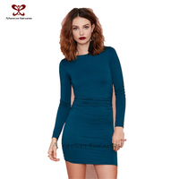 2015 Women Underwear dresses Polyester simple Long Sleeve see through bundle clothing hoody model dresses soft next to the shin