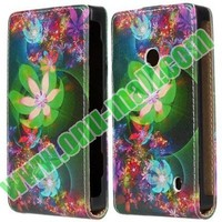 Lotus Pattern Vertical Flip Leather Cover Case for Nokia Lumia 520