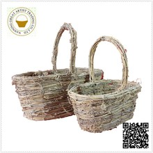 Christmas promotion gift rattan basket with handle wholesale in oval shape