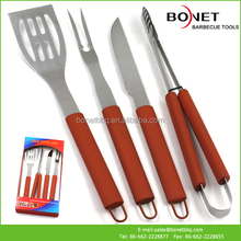 QPB0023 4Pcs Stainless Steel +TPR With Paper Box BBQ Tool Set