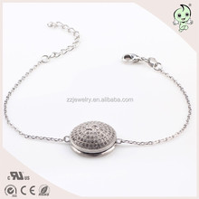 Round Shape Middle Have A Number 5 925 Sterling Silver Bracelet