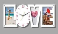 Made In China Good Quality White&Black Modern Design Home Decor MDF Love Word Quartz Photo Frame Wedding Wall Clock