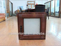 Wood clad aluminum tilt and turn window with roll up screen