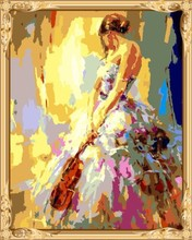 abstract sexy violin women canvas oil painting by numbers kits for bedroom decor GX7558