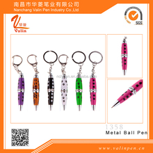 Small short crystal pen with kay chain