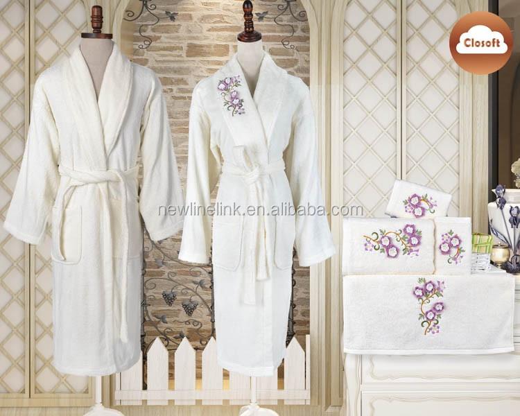 Mode broder Couleur Personnalisée turc coton en gros peignoir famille ensemble
