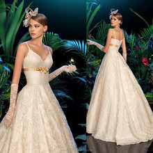 Latest Designs 2015 Sexy A-line Sweetheart Spaghetti Strap Floor -length Empire Lace Women Wedding dresses WD1756