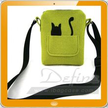 Custom sign of animal small cat felt shoulder bag