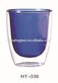 De doble pared de vaso de vidrio con color, transparente de doble pared de vidrio taza/beber vasos