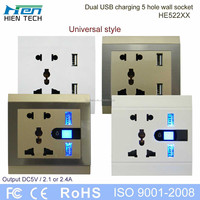 USB power universal power outlet double USB wall socket 5V2.1A and 5V2.4A charging phones without chargers