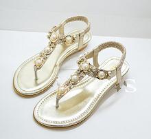 2015 nuevoa sandalia de moda de calzado con cristal y perla