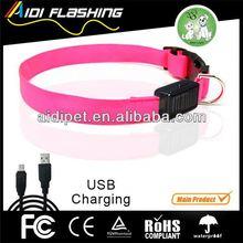 pet flashing flash light solar & usb recharable battery glowing pet dog led collars