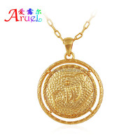 have spot Fashion leisure styles round shape have leopard head shape fit anyone 18 k gold athletic jewelry pendant necklace