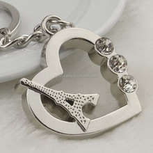 New design high quality wholesale heart and tower metal keychain