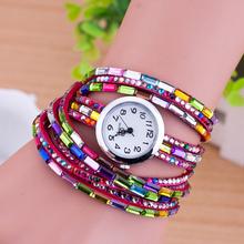 2015 hot trendy fashion women color pente beads electronic bracelet watch