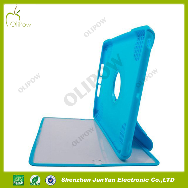 Hybrid silicone case for ipad mini 2 with 360 degreen rotating stand